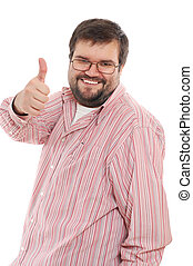 happy big mid-adult man - happy casual man with his thumb up