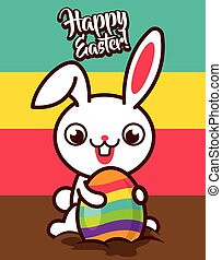 Happy big tooth easter bunny pulling the colourful egg from ground. Colourful background isolated - vector