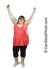 Happy big woman - Isolated full length studio shot of a ...
