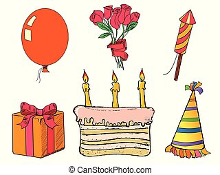 Happy birth day set. Hand drawn, vector images. Present, cake, balloon, flower, hat, fireworks