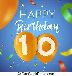 Happy birthday 10 ten year balloon party card