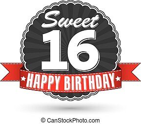 Happy birthday 16 years retro label with red ribbon, vector...