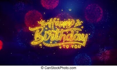 Happy Birthday 2019 Greeting Text Sparkle Particles on...