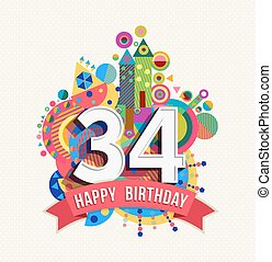 happy 34 birthday coloring pages - photo#15