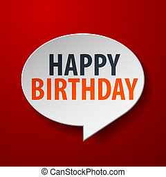 Happy Birthday 3d Speech Bubble on red background