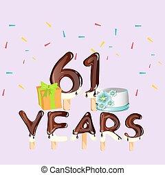 Happy Birthday 61 years card