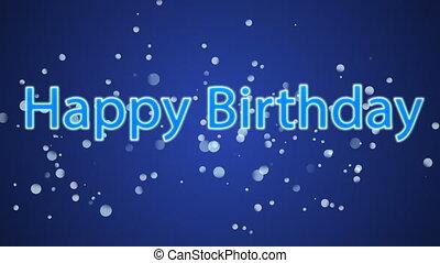 Happy Birthday against blue background - Digitally generated...