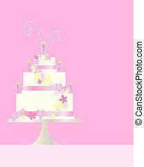 happy birthday - an illustration of a three tier birthday ...