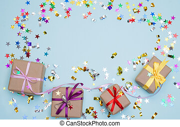 Happy Birthday And Gift Boxes On Color Background Happy Birthday