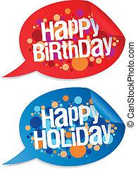 Happy birthday and holidays stickers.