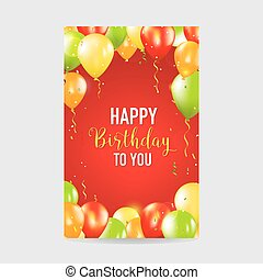 Happy Birthday and Party Balloon Invitation Card - with place for your text - in vector