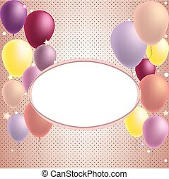 Happy Birthday and Party Balloon Invitation Card - with place for text