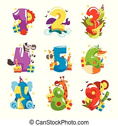 Happy birthday, anniversary numbers with cute animal characters set, funny lion, zebra, whale, snake, fox, giraffe, elephant, panda, koala vector Illustrations on a white background