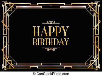 happy birthday art deco invitation
