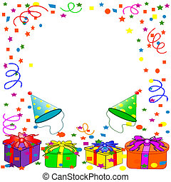 Colorful birthday background with balloons, ribbons, gifts, flowers.