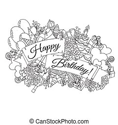 Happy Birthday background for card. Hand drawn doodles gift boxes, garlands and balloons, party blowouts, cakes and candies, birthday pie, party hats and ribbon with congratulation Happy Birthday