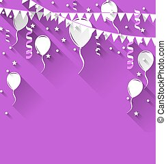 Happy birthday background with balloons and hanging buntings