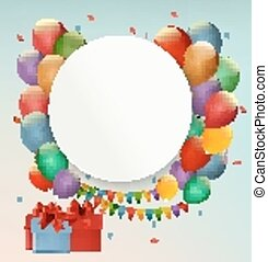 Happy Birthday background with balloons and presents. Vector.
