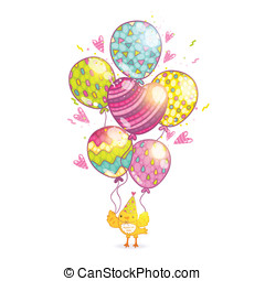 Happy Birthday background with bird and balloons.