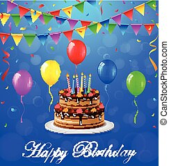 Happy birthday background with cake