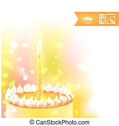 Happy Birthday Background with Cake. Vector illustration, eps10.