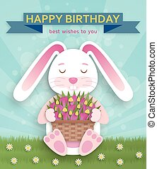 Happy Birthday background with cute white bunny