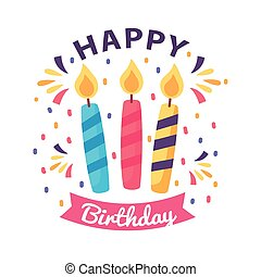 happy birthday badge with candles on white background