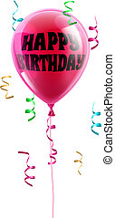Happy Birthday balloon - A shiny pink balloon with the words...