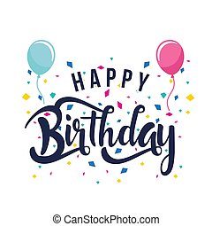 Happy Birthday Balloon Ribbon White Background Vector Image