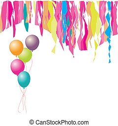 Happy birthday! Balloons and confetti. Insert your text here.