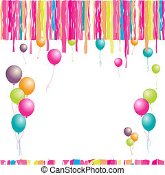 Happy birthday! Balloons and confetti. Insert your text here...