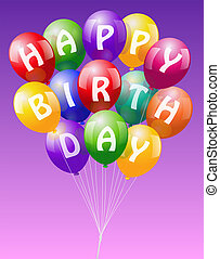 Happy Birthday Balloons - A bunch of colorful realistic...