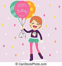 Happy Birthday Balloons Girl