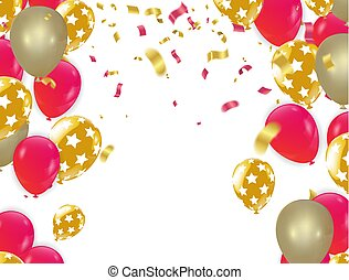 Happy Birthday balloons Gold celebration background with confetti.