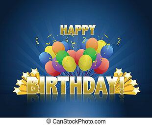 Happy birthday balloons logo sign