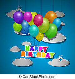 Happy Birthday, Balloons on Blue Sky