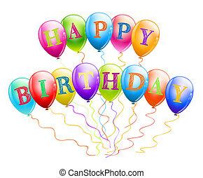 happy birthday balloons on white