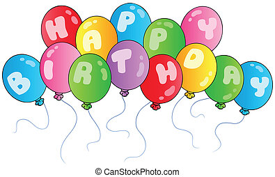Happy birthday balloons - vector illustrations.
