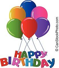 Happy birthday balloons with vivid colors