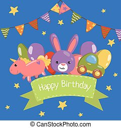 Happy Birthday banner, birthday party card with cute animals, vector Illustration