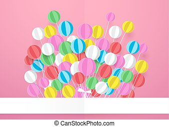 Happy Birthday. Banner with Colorful Balloons. Paper art and craft style