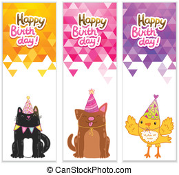 Happy Birthday banners with cat, dog, bird