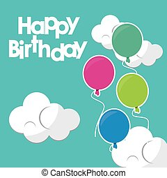 happy birthday beautiful balloons clouds turquoise background