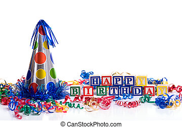 Happy Birthday BLocks and Hat on white