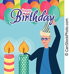 happy birthday, blond man with candles balloons celebration party event decoration