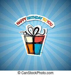 Happy Birthday Blue Background
