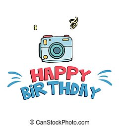 Happy Birthday Blue Camera Background Vector Image