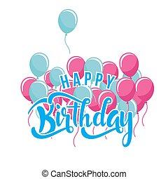 Happy Birthday Blue Pink Balloon White Background Vector Image