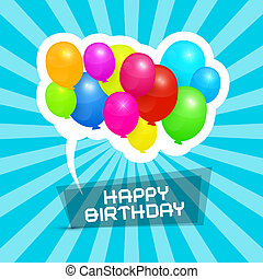 Happy Birthday Blue Retro Vector Background with Colorful Balloons