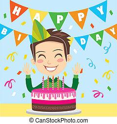Happy Birthday Boy - Happy boy celebrating his fifth...